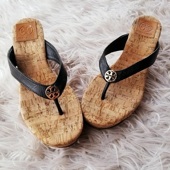 189f22b1e9f Tory Burch  Suzy  Cork Wedge Thong Sandals. M 5a8cd4e58df470f52cd4fd92